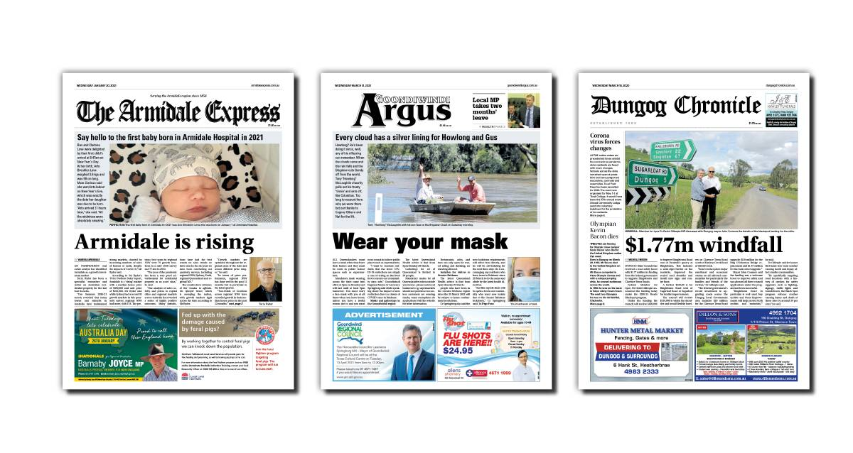 The Armidale Express, Goondiwindi Argus and Dungog Chronicle are among a number of local newspapers that ACM is bringing back in print 12 months after printing was suspended at the height of the pandemic.